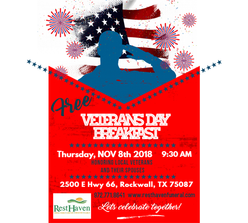 Free Veteran's Day Breakfast for Veterans and Spouses